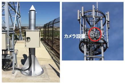 ドコモの基地局サイトに設置された電子観測点、および津波観測用カメラ