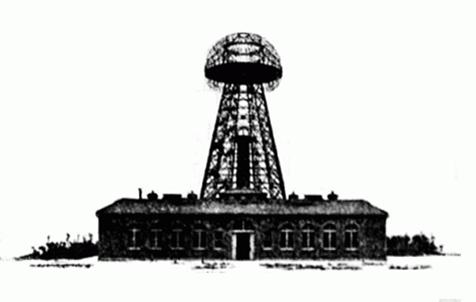 【図1】:テスラが建設したウォーデンクリフ・タワー  (出典:http://www.teslasciencecenter.org/wardenclyffe/)