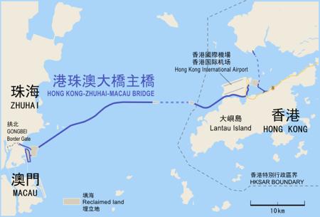 「港珠澳大橋」のルート