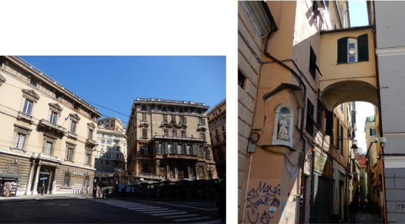 (左)ジェノバ、旧市街/(右)落書きが見える旧市街地