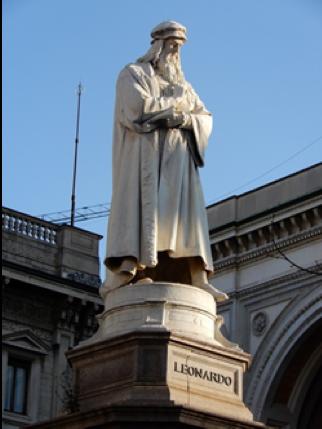 スカラ座前のダ・ビィンチ像
