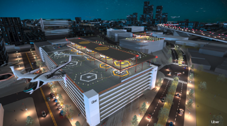 Uber Airの都市の発着場イメージ