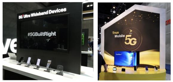 最新5Gスマートフォンの展示(左:Verizon、右:Sprint)