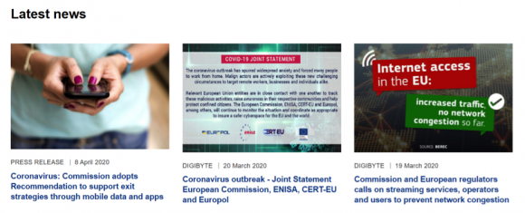 図3:ECの情報通信サイトのトップページのニュース(4月13日)