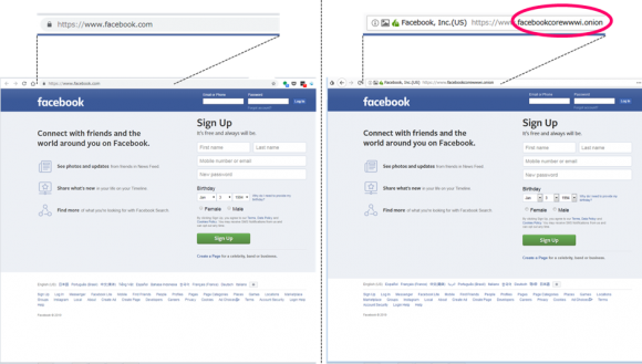 Chromeでアクセスした通常のFacebook(左)とTorでアクセスしたダークウェブ版のFacebook(右)