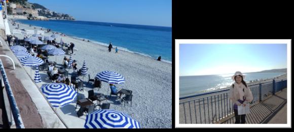 (左)ニースの海岸風景/(右)きらめく地中海を背景に