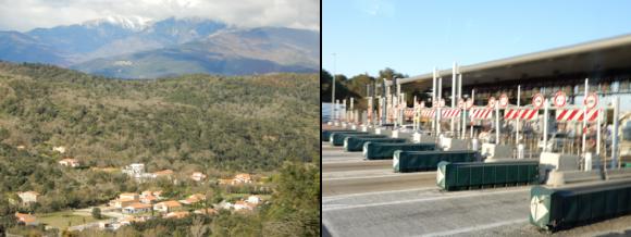 (左)国境近くの風景/(右)国境ゲートを通過