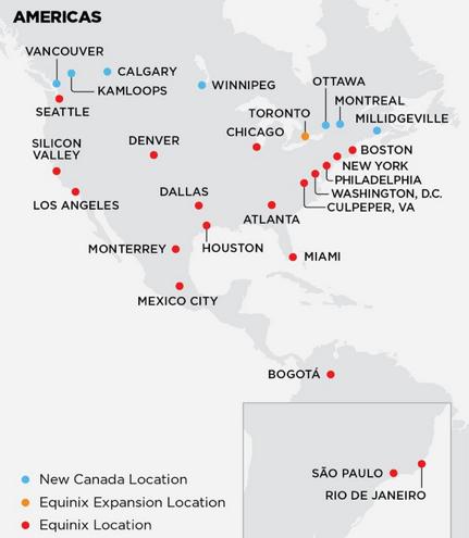 (図2)(図)EquinixのBell Canadaのデータセンター買収による拡大