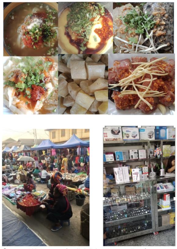 【写真3】シャン州ならではの食べ物や昔ながらの買い物が楽しめるマーケット