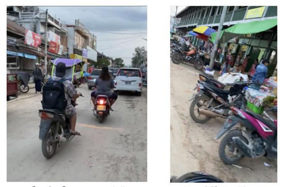 【写真4】バイクで移動している人たちと駐輪場の様子