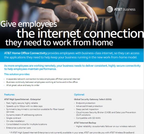 【図1】AT&T Businessのチラシ(「在宅勤務に必要なインターネット接続を社員に」)