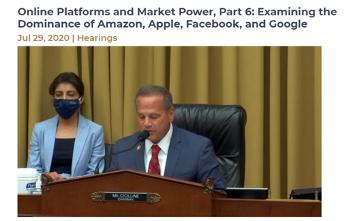 【図1】下院司法委員会(反トラスト小委員会)の公聴会を進行するCicilline小委員長