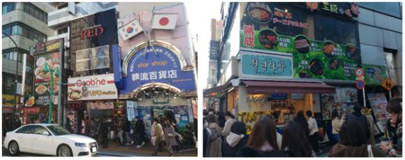 【写真1】賑わいを見せる大久保通り沿いの店(左)立ち食いを楽しむ若者たち(右)