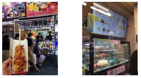 【写真3】筆書がトライしたハットグ(左)と大人気のマカロンらしきスイーツ店(右)