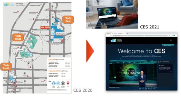 【図2】CES 2020とCES 2021の会場の違い