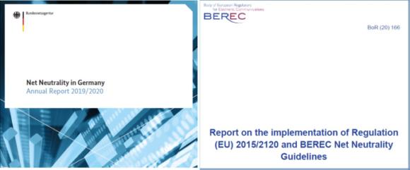 【図2】EU規則の実施状況に関する2020年次のモニタリング報告書(表紙) -加盟国(ドイツの例)(左)とBERECの報告書(右)