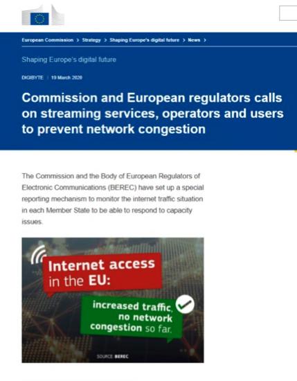【図4】ストリーミングサービス、通信事業者、ユーザーにネットワーク混雑回避を訴えたと伝えるECのニュースリリース(2020年3月19日)
