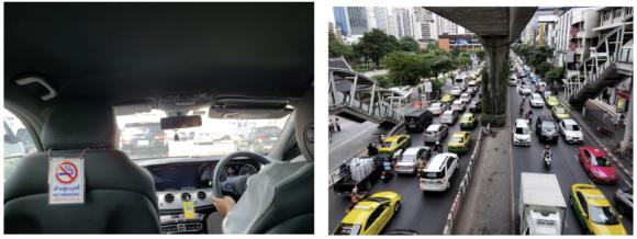 【写真2】快適なAOTリムジン車内と世界的に悪名高いバンコクの交通渋滞