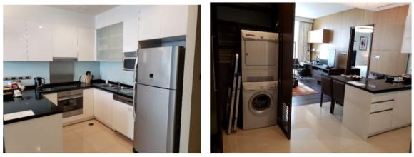 【写真3】ホテルの室内(キッチンと洗濯機・乾燥機もある)