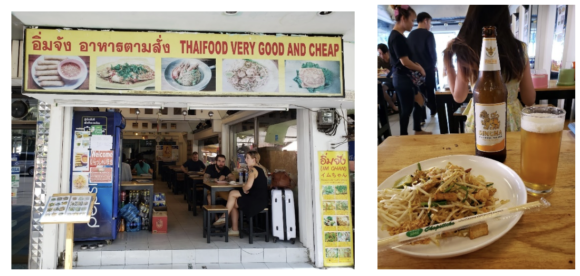 【写真4】タイ料理店「イムちゃん」の店構え(左)とパッタイ&シンハービール(右)
