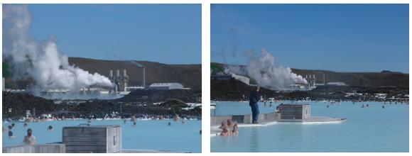 【写真22、23】露天風呂と地熱発電所