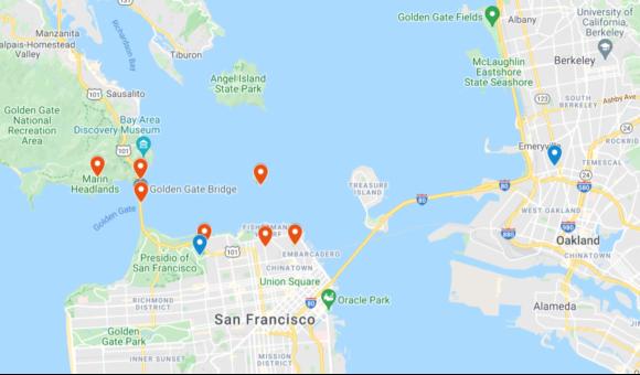 【図1】サンフランシスコ市近郊の聖地