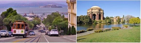 【写真3】アルカトラズ島(左)とThe Palace of Fine Arts(右)